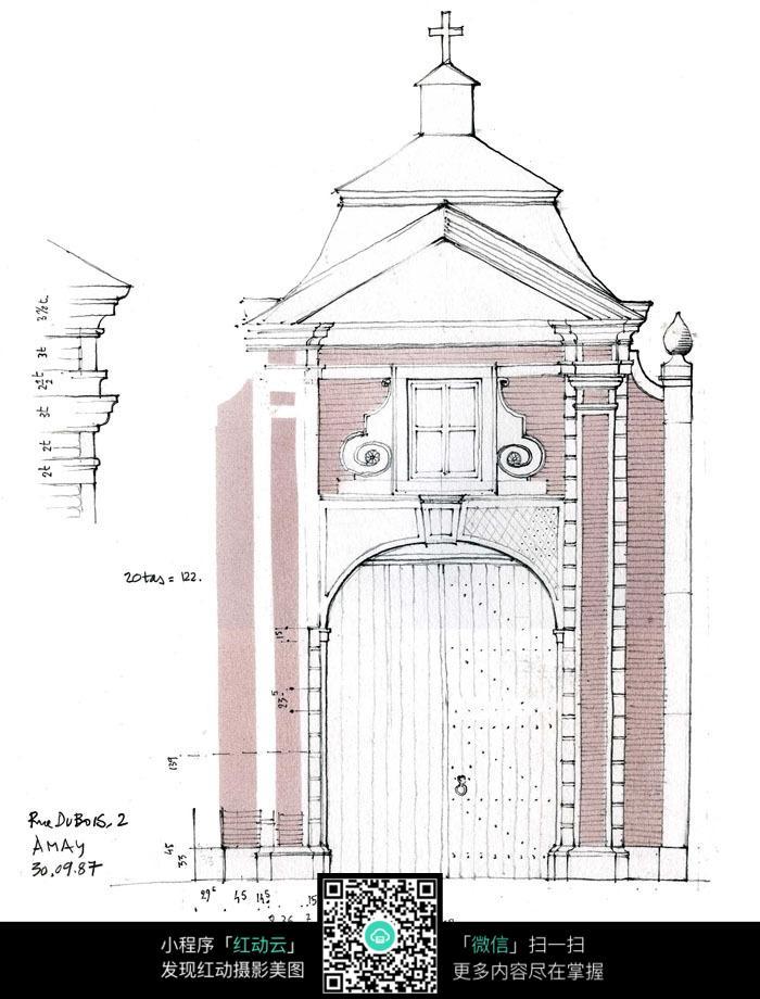 教堂线描建筑手绘