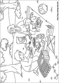 家人 野餐卡通 手绘填色线稿JPG图片 漫画插画