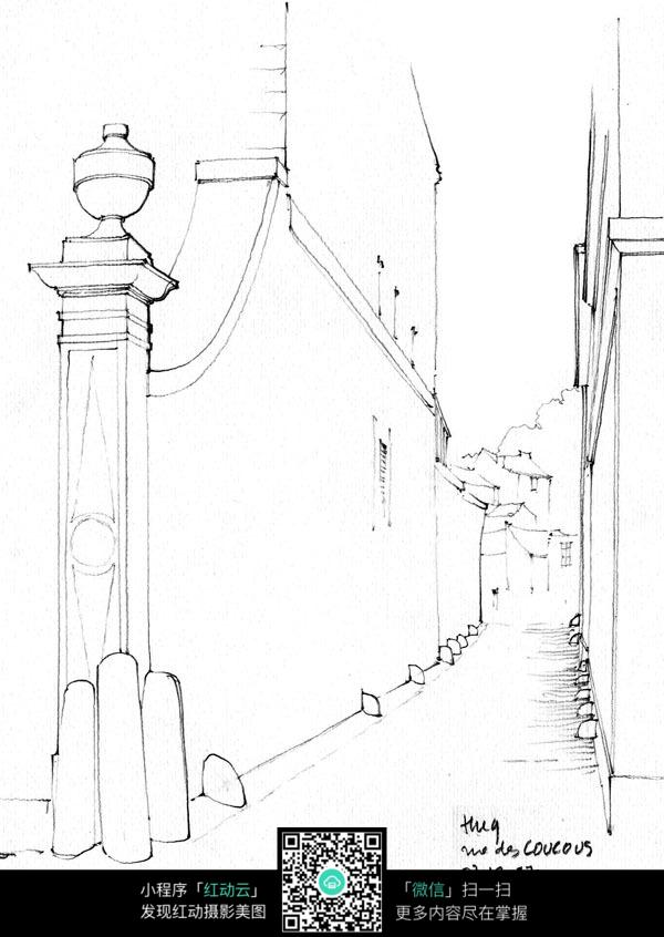 街道口手绘线描图片