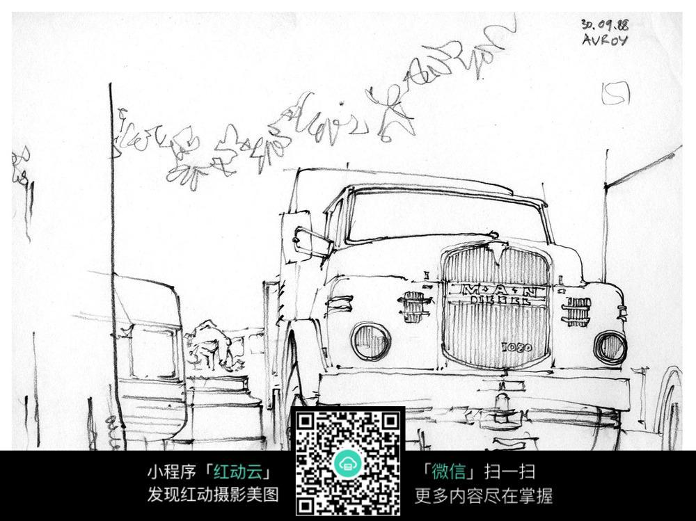 街道里汽车手绘图片