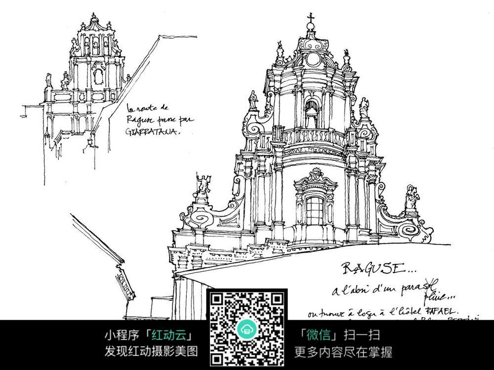 精美欧式尖顶建筑立面手绘线描图