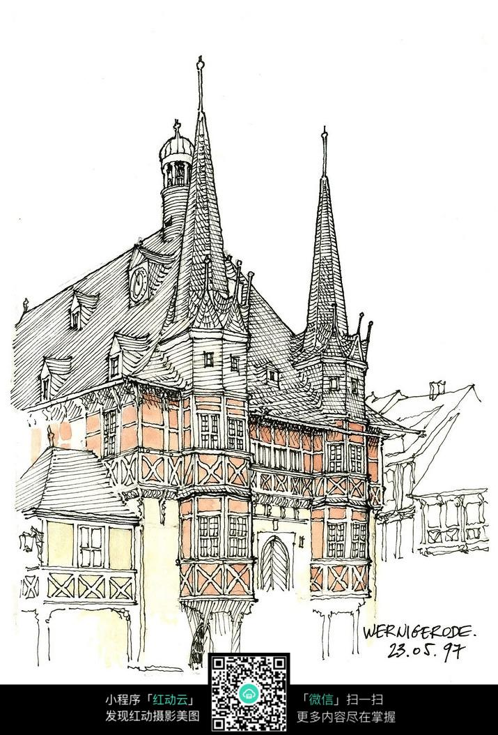 精美欧式尖顶建筑手绘水彩线描图
