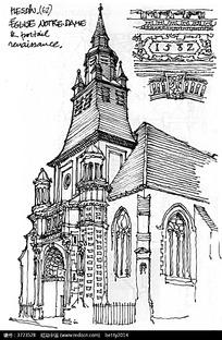 精美欧式尖顶建筑手绘线描图
