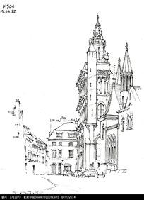 精美欧式建筑手绘线描图