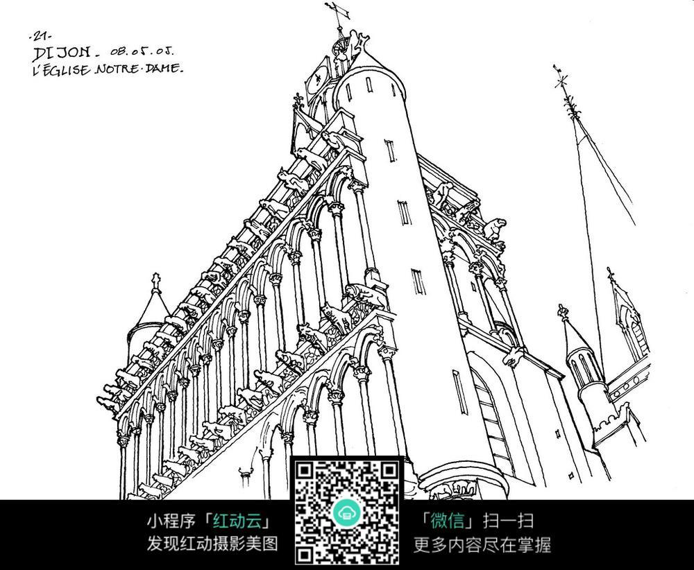国外建筑线稿手绘图_活动场景图片