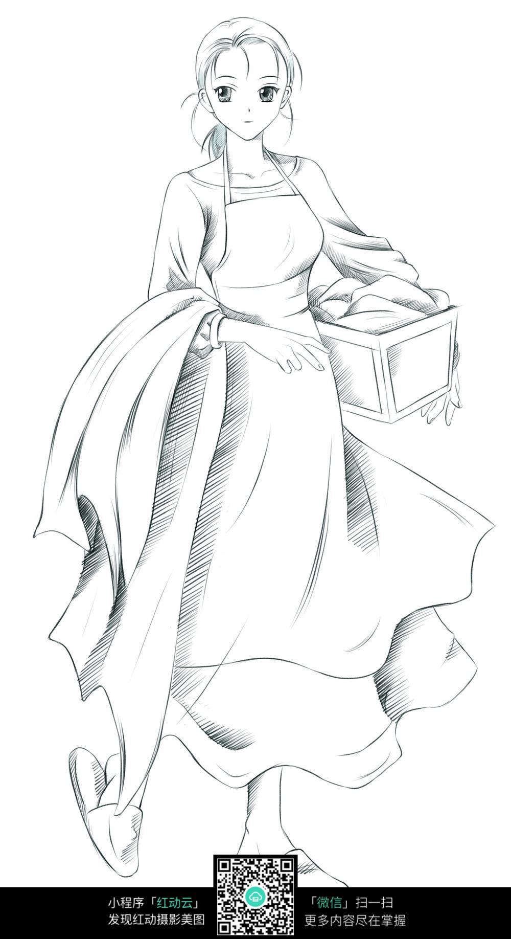 手绘慵懒女生图片