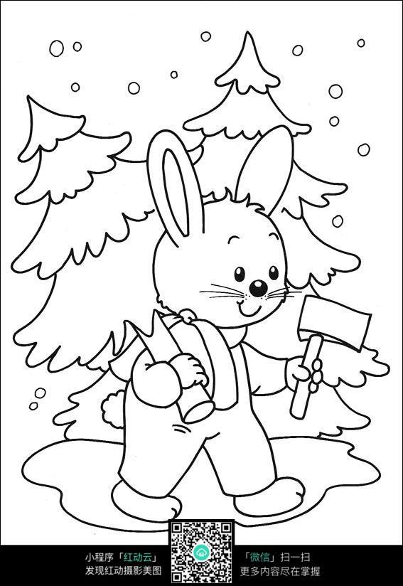 小兔子线描_教大家画两只小兔子线描画兔子教程4_儿童画