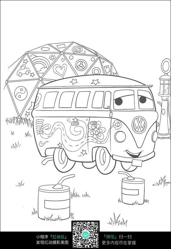 卡通巴士手绘填色线稿jpg_人物卡通图片_编号3717048