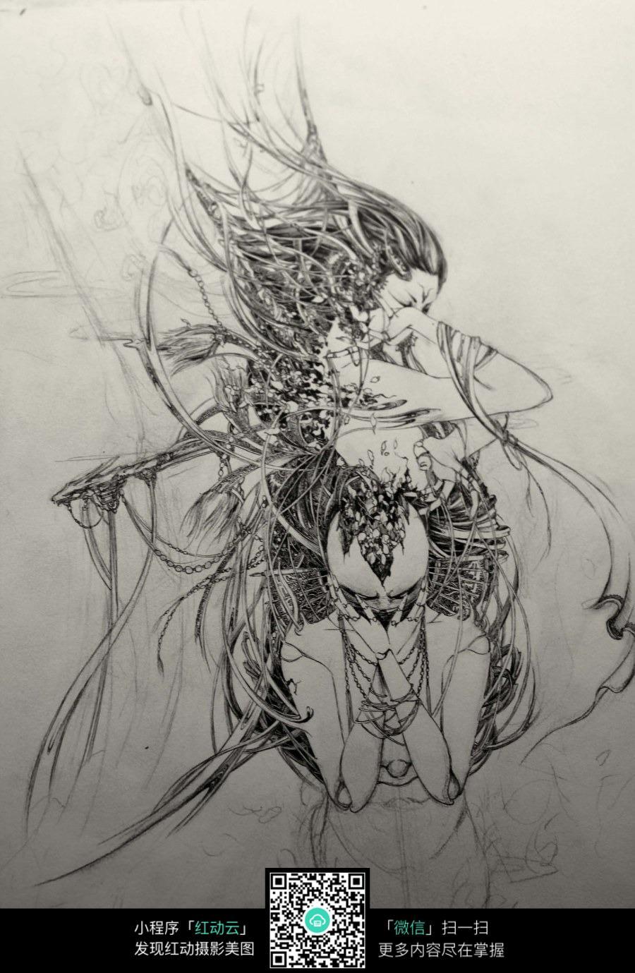 卡通长发美女手绘线描画