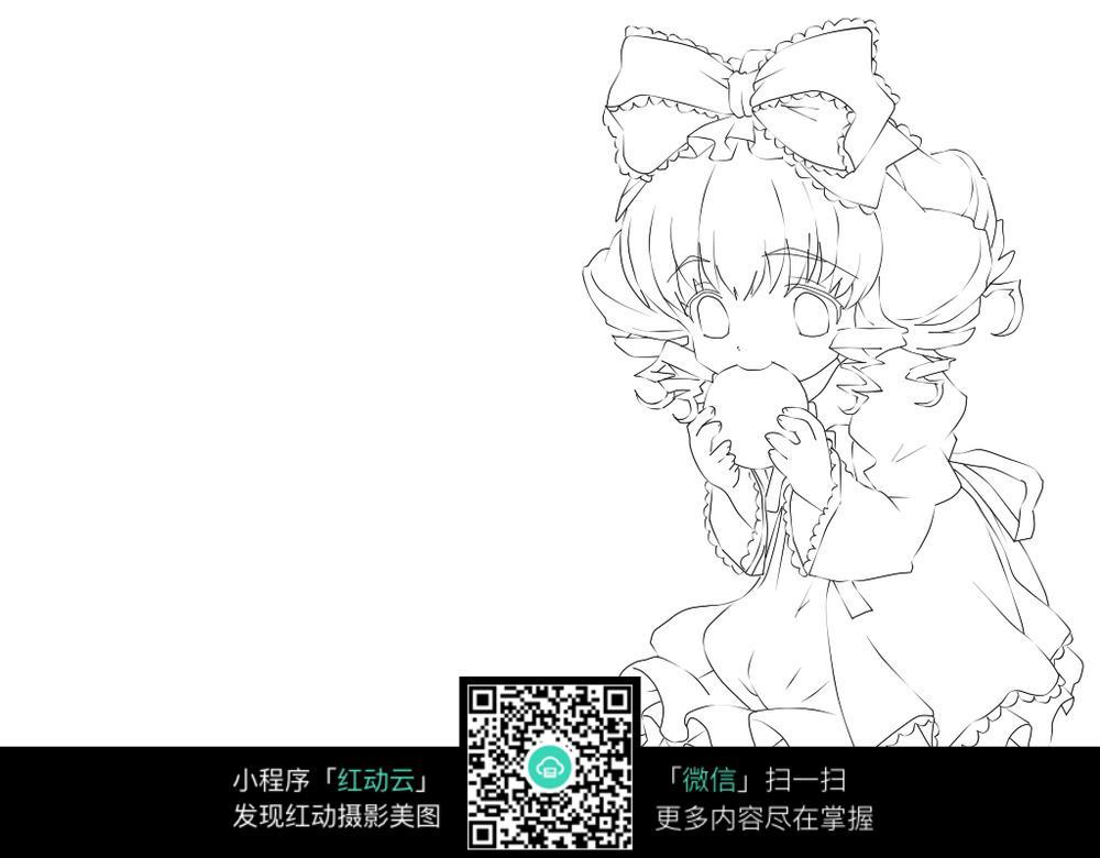 卡通吃零食的女孩线描