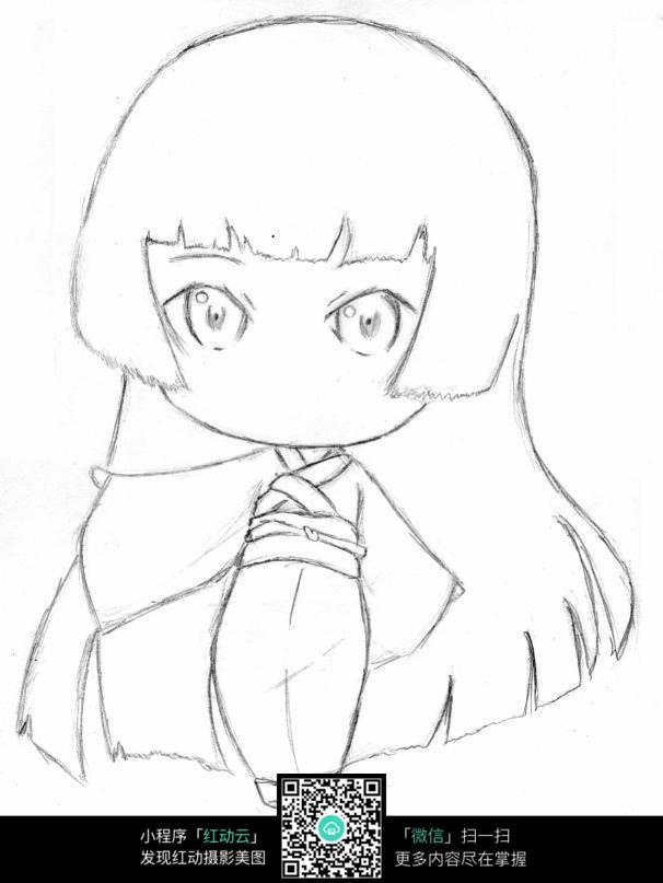 免费素材 图片素材 漫画插画 人物卡通 卡通穿和服的大头女孩  请您