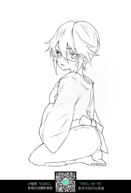黑白钢笔画  黑白手绘上色练习稿  卡通穿和服的女孩线描 卡通人物