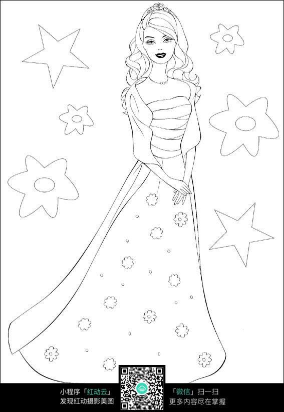 卡通穿裙子的女孩图片