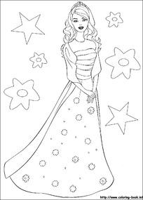 卡通穿裙子的女孩