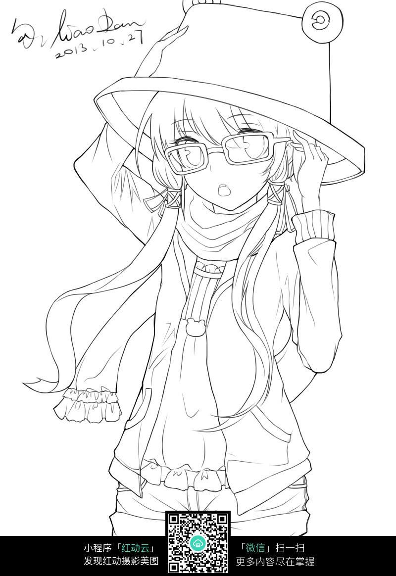 卡通戴帽子的女孩线描