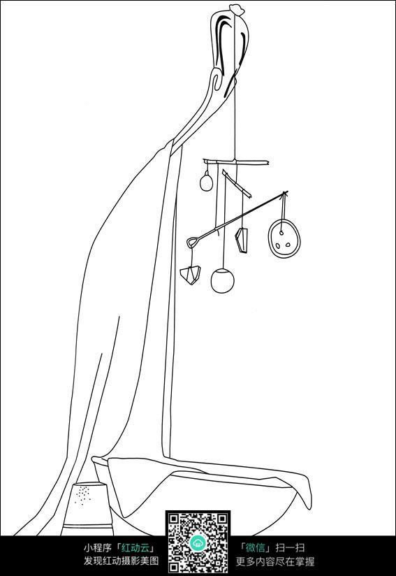 卡通风铃手绘线描画