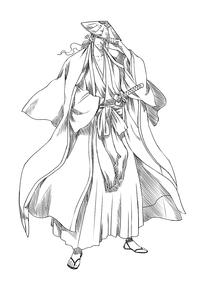 卡通古代日本武士人物线描