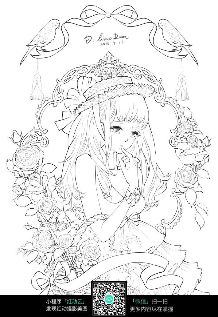 卡通花丛里的女孩线描