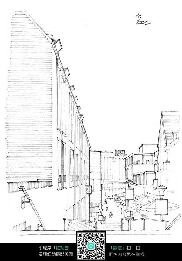 卡通街道城市手绘线稿_建筑设计图片