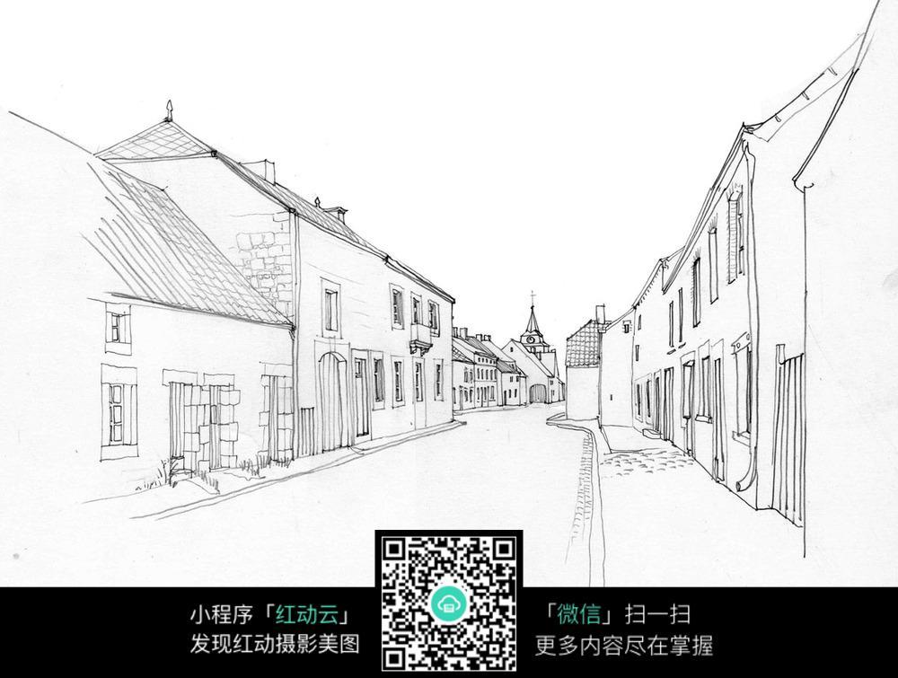 卡通街道平房手绘线描