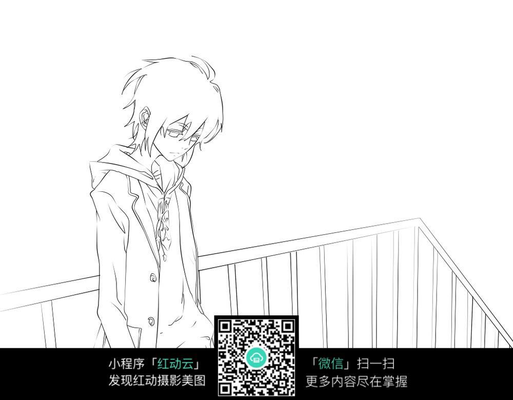 免费素材 图片素材 漫画插画 人物卡通 卡通沮丧走路的男孩线描