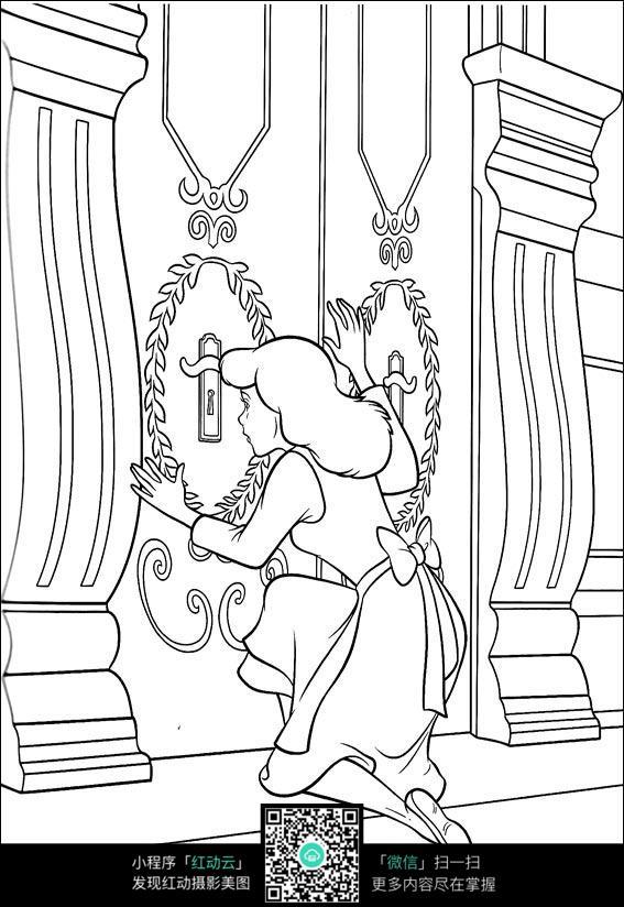 卡通开柜子的美女手绘线描画
