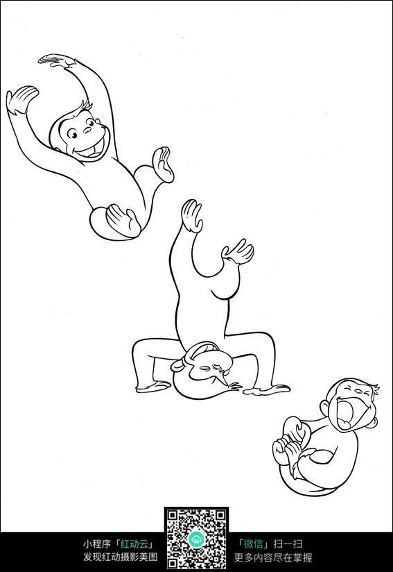 卡通开心运动的猴子手绘线描图