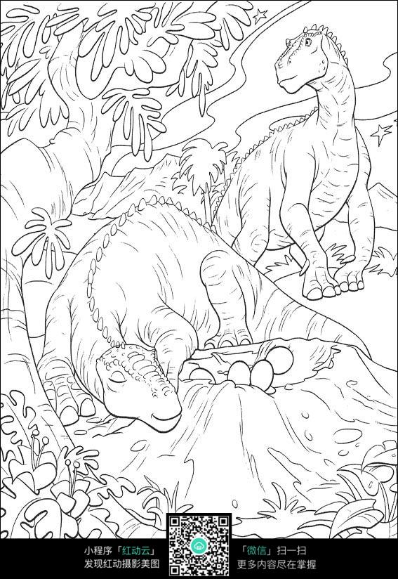 卡通看护恐龙蛋的恐龙图片免费下载 编号3725100 红动网