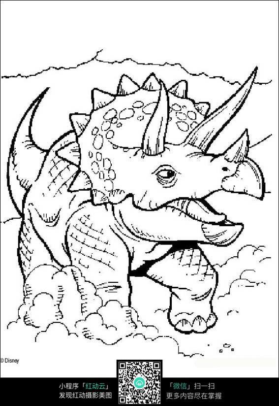 卡通恐龙手绘线描图