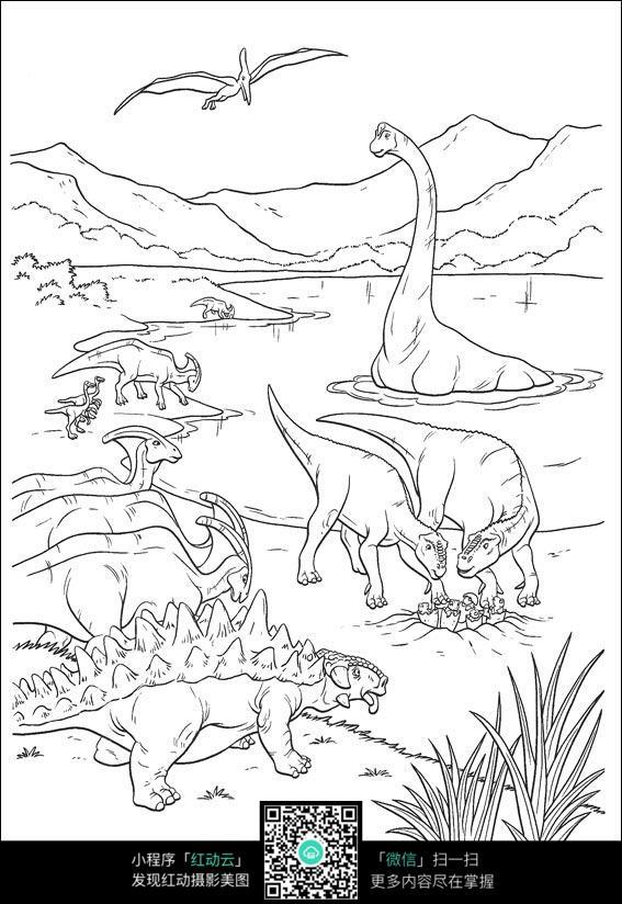 卡通恐龙在水里游图片免费下载 编号3725116 红动网