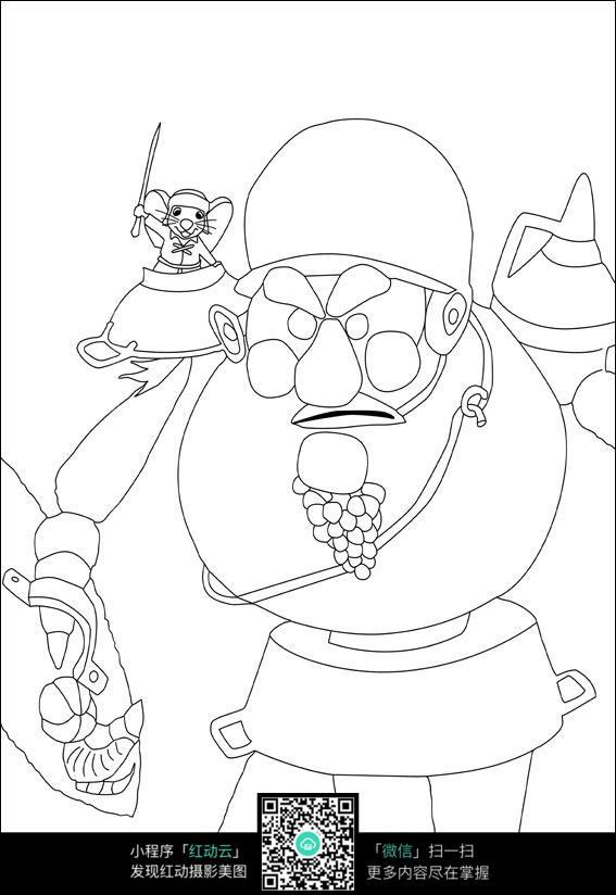 卡通老爷爷手绘线描画