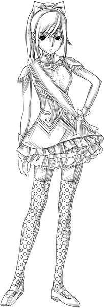 卡通猫人女孩线描