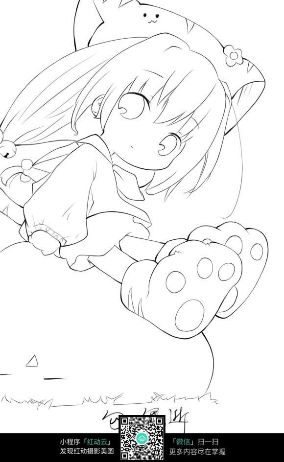 卡通猫人小女孩萌萌哒