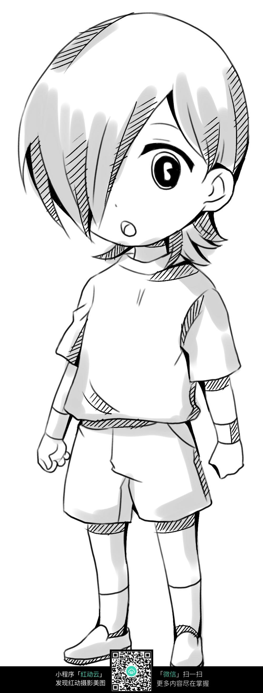 卡通男孩手绘线稿图片