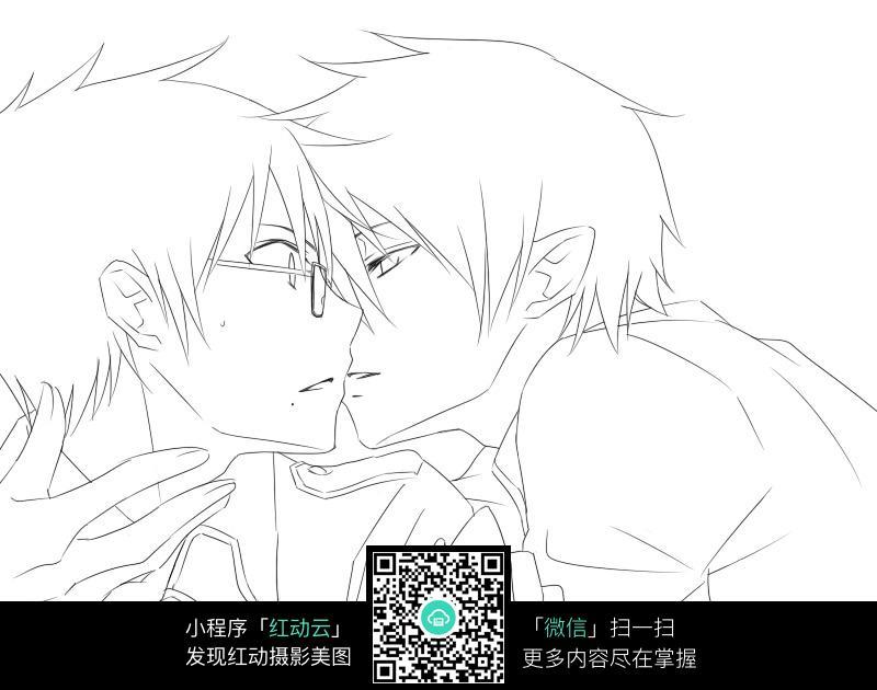 男孩同性恋打伞黑白手绘