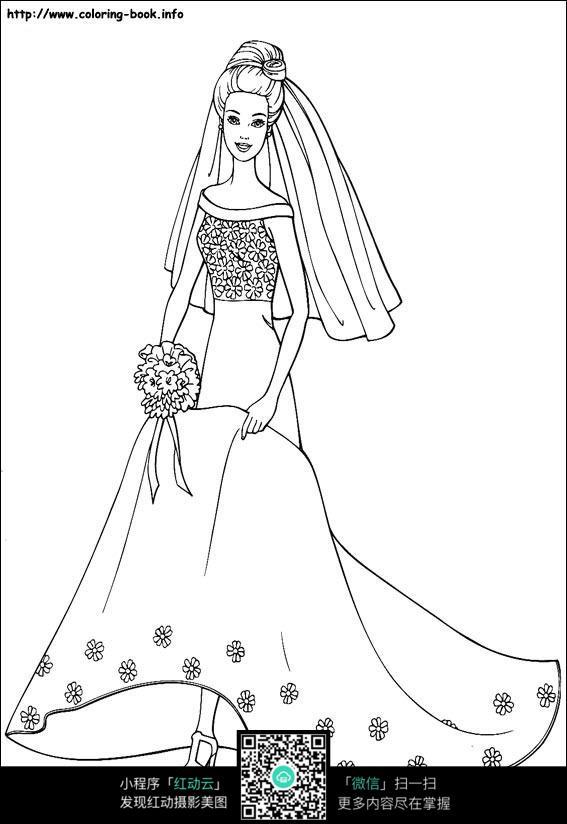 卡通女孩穿着婚纱礼服