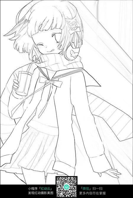 卡通女孩喝饮料