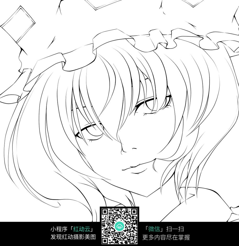 卡通女孩头像手绘线稿_人物卡通图片_编号3693674