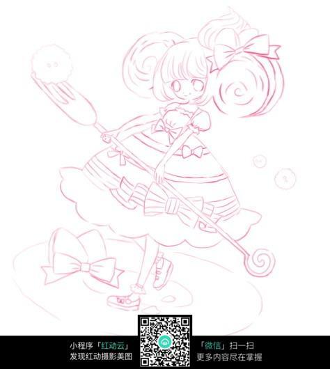 卡通女孩玩耍线描_人物卡通图片