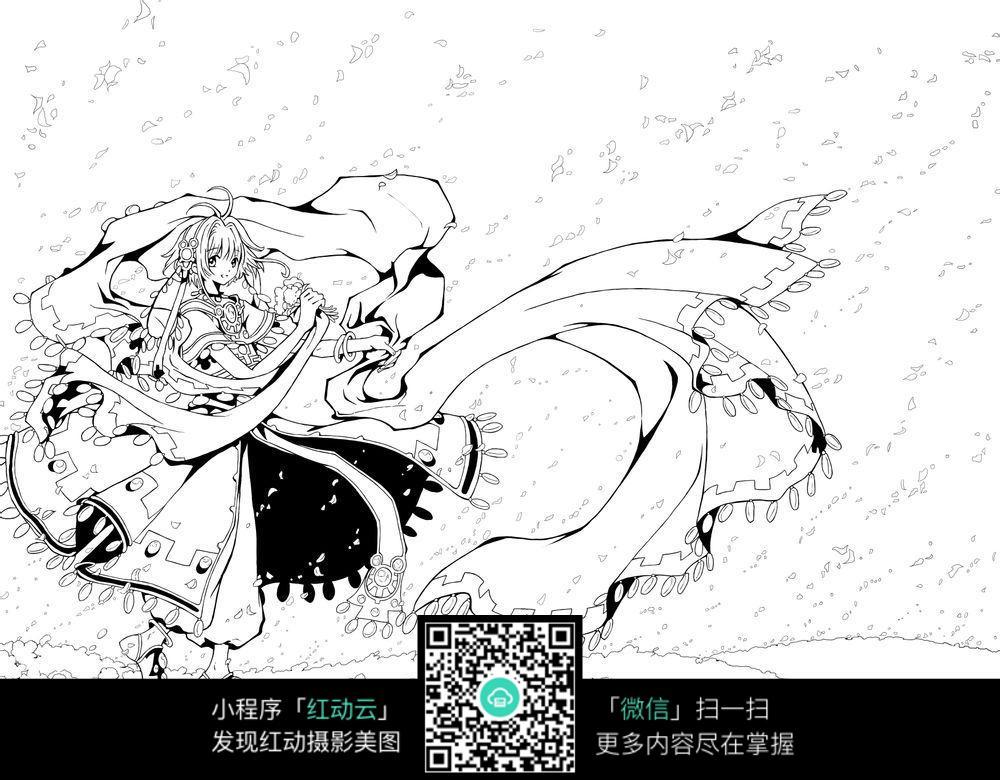 素材  手绘  黑白上色练习稿 人物线描  卡通女孩走在落花里 卡通