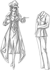 卡通女教师和一套服装线描