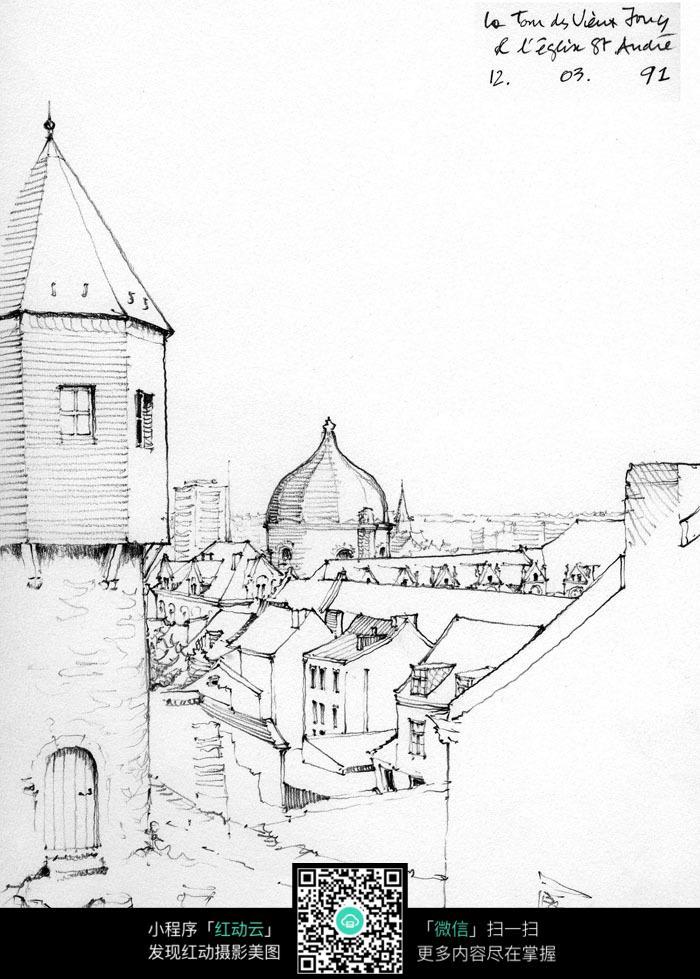 欧洲现代别墅建筑手绘图_活动场景图片_红动手机版