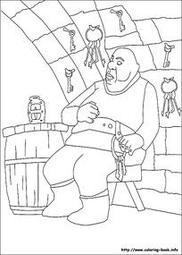 卡通配钥匙的大叔手绘线描图