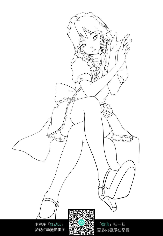 卡通翘着二郎腿的女孩