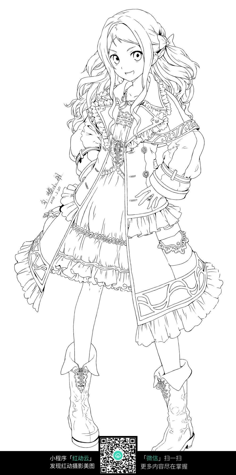 卡通日本动漫人物女孩线描