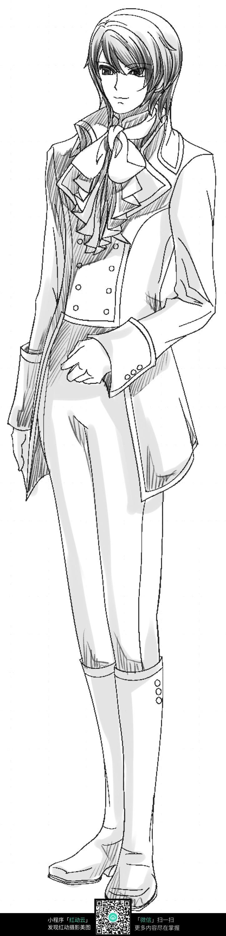 卡通绅士男孩线描