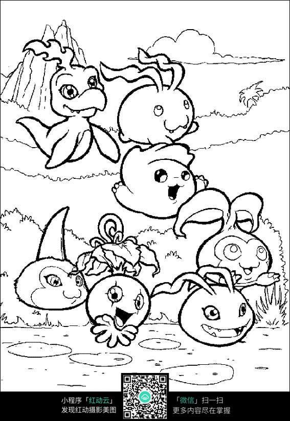 免费素材 图片素材 漫画插画 人物卡通 卡通水里的动物线描  请您分享