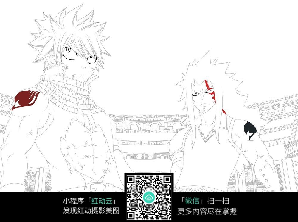 卡通孙悟空男孩线描