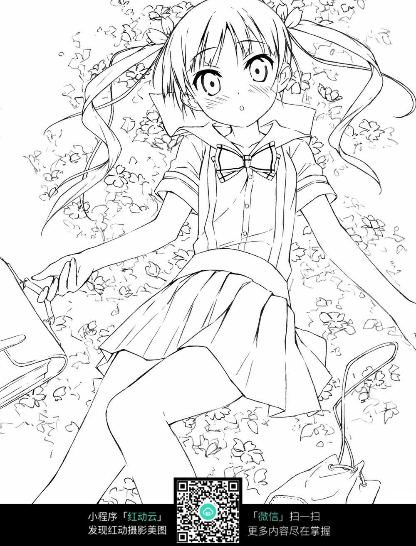 卡通躺在花瓣里的女孩