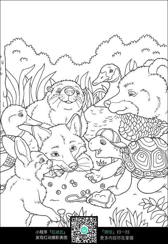 卡通乌龟和小动物们
